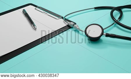 Medical Concept, Stethoscope, Medical Clipboard With Blank Sheet Of Paper In Blue Background