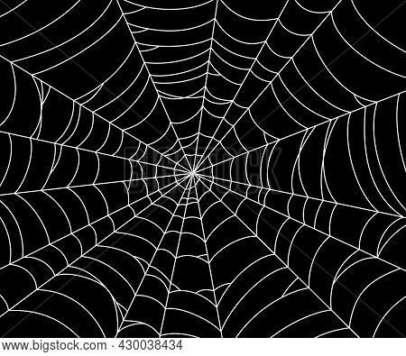 Scary Spider Web. White Cobweb Silhouette Isolated On Black Background. Hand Drawn Banner With Spide