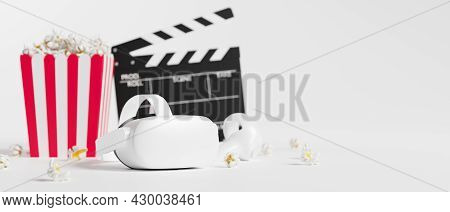 Virtual Reality Headset With Joysticks, Striped Popcorn Box, Movie Clapper Board,in White Background