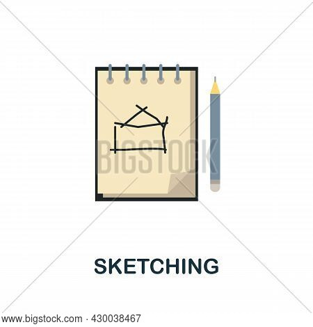 Sketching Flat Icon. Colored Sign From Design Thinking Collection. Creative Sketching Icon Illustrat