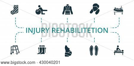 Injury Rehabilitation Icon Set. Contains Editable Icons Theme Such As Gymnastic Ball, Back Support,