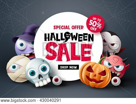 Halloween Sale Banner Design. Halloween Special Offer Discount Text With Scary And Spooky Cute Chara