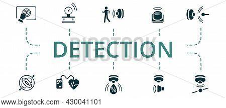 Detection Icon Set. Contains Editable Icons Theme Such As Heartbeat Sensor, Pressure Sensor, Tilt Se