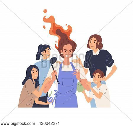 Hard Parenting Concept. Angry Tired Mother And Many Annoying Children. Moms Stress, Mind-shift And E