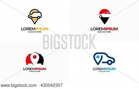 Set Of Car Shop Logo Template Design Vector, Car Point Finder Logo Template Design Vector