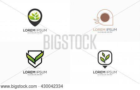 Set Of Nature Point Place Logo Designs Concept Vector, Farm Agriculture Logo Designs Vector Illustra