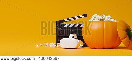 Halloween Movie Night With Vr Movie, Vr Headset, Popcorn, Movie Clapper, Yellow Background