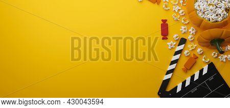 Halloween, Rick Or Treat Candies, Popcorn Pumpkin Bucket, Movie Clapper Board, Copy Space In Yellow