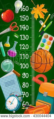 Cartoon School Stationery Kids Height Chart. Child Growth Measure, Children Height Centimeters Scale