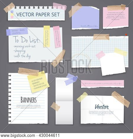 Paper Banners With Notes Set Attached With Sticky Colorful Tape On Grey Background Isolated Realisti