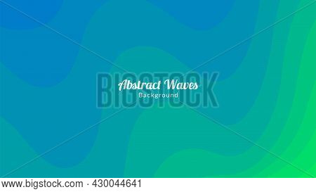 Abstract Gradient Colored Green And Blue Waves Background Design