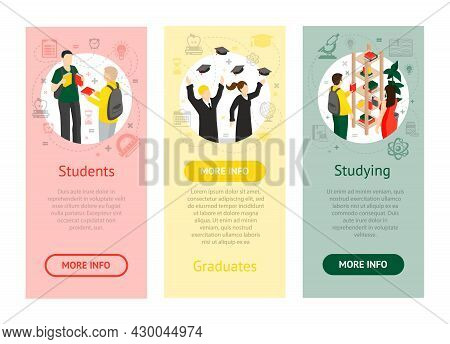 College University Isometric Vertical Banners With Students Graduates And Students In Library On Col