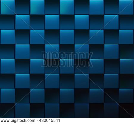Abstract Blue Square Vector Realistic Cubic Background.