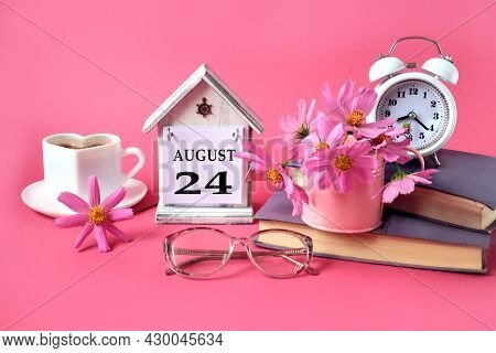 Calendar For August 24 : The Name Of The Month Of August In English, The Number 24, A Cup Of Tea, Bo