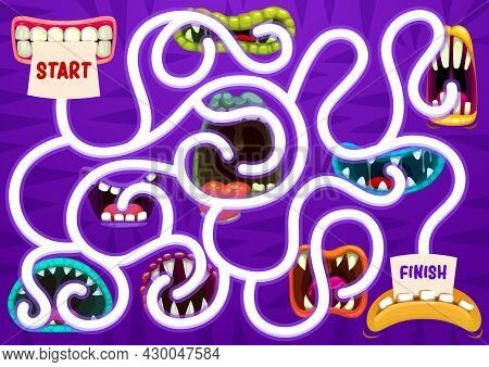 Kids Search Way Game With Monsters Open Toothy Maws. Children Find Path Exercise, Cartoon Vector Chi
