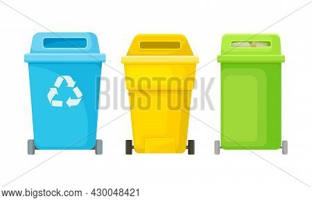 Plastic Containers For Garbage Sorting Set. Wastebaskets For Household Waste Vector Illustration