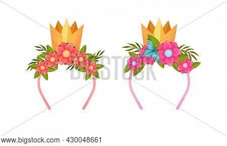 Set Of Headbands With Golden Crown And Blooming Flowers Cartoon Vector Illustration