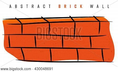 Abstract Brick Wall On White Background - Graphic For Your Construction Design. Vector Illustration.