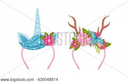 Headbands With Unicorn Horns And Flowers Set. Deer Antlers And Unicorn Horn With Blooming Flowers Ca