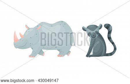 Cute Exotic Animals Set. Lemur Loris And Rhinoceros Cartoon Vector Illustration