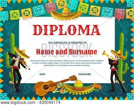 School Diploma Vector Dia De Los Muertos Skeletons In Sombrero Play Violin And Trumpet. Education Ce