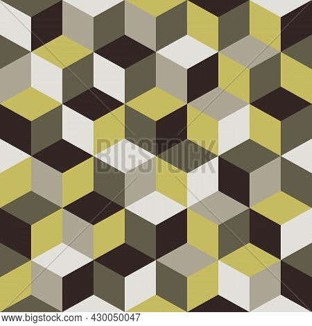 Colorful Abstract Vector Seamless Pattern With 3d Cube. Modern Scandinavian Style.