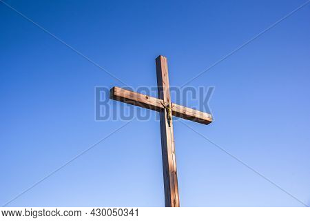 Wooden Cross With Sky, Background Of Religion