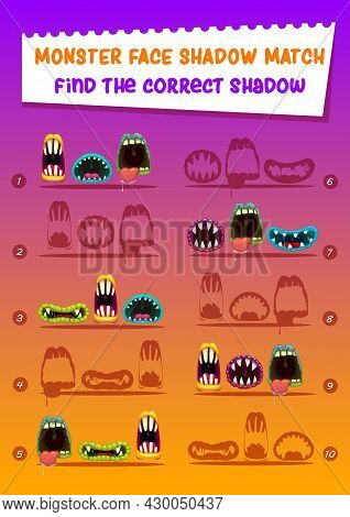 Monster Face Shadow Match Kids Game With Creepy Mouths. Find Correct Shadow Cartoon Worksheet, Riddl