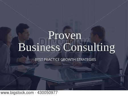 Composition of business services text over business people during meeting. business services promotional communication concept digitally generated image.