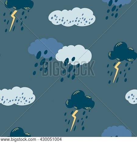 Cloudy Rainy Sky Seamless Pattern. Hand Draw Blue Clouds With Thunderstorms, Lightning And Rain. Vec