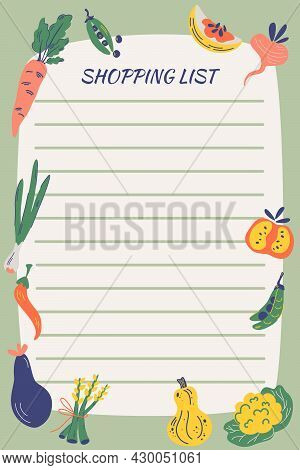 Shopping List With Vegetables. Garden Food. Hand Draw Healthy Food. Notebook Diary. Notepad Statione