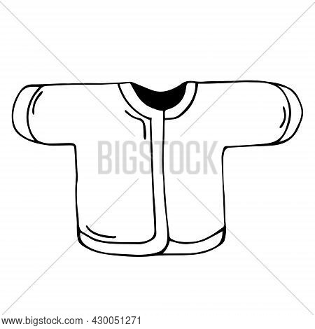 Baby Undershirt Vector Icon. Hand-drawn Black Doodle. Small Jacket On A White Background. Clothes Sk