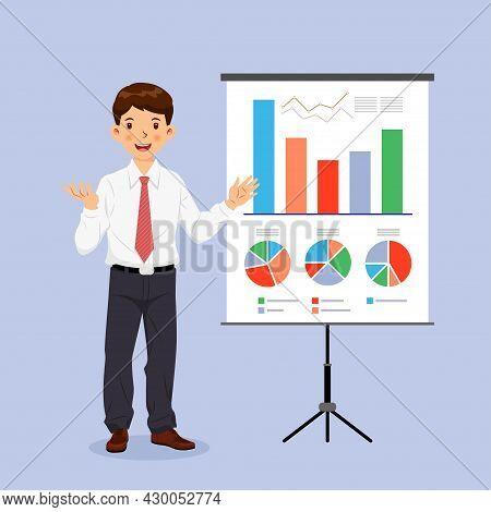 Businessman Presenting Marketing Data On Projector Screen. Vector Illustration