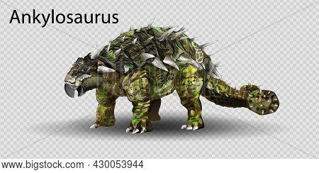 Vector Realistic Ankylosaurus Dinosaur Of Jurassic Period, Prehistoric Extinct Giant Reptile. Dinosa