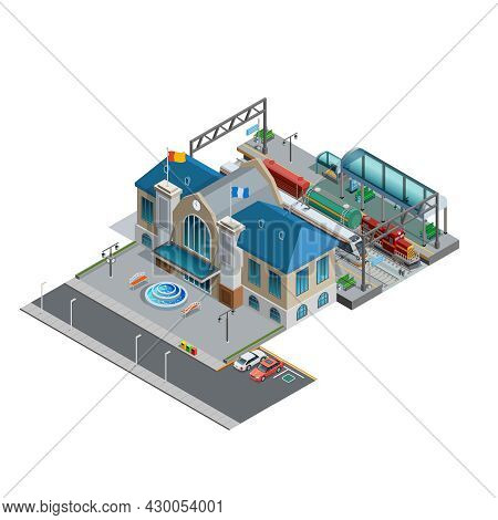 Isometric Miniature Of Railway With Station Building Near Area Parking Platform Passenger And Freigh