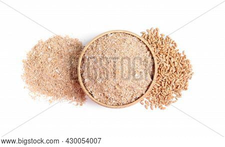 Wheat Bran And Kernels On White Background, Top View