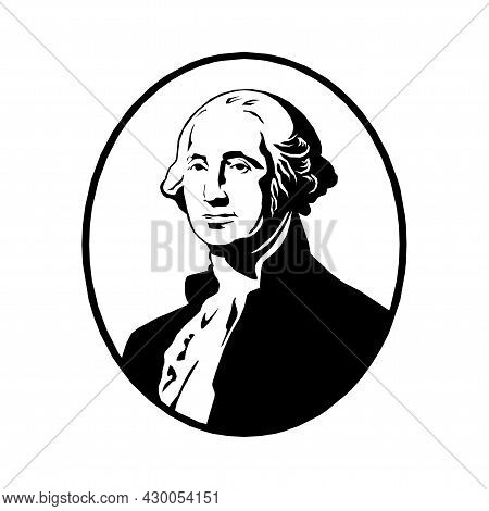 Black And White Vector Illustration Of George Washington In Eps 10