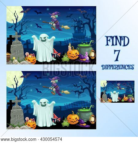 Find Difference, Halloween Cartoon Game Or Spot Puzzle, Vector. Kids School Or Preschool Find Differ