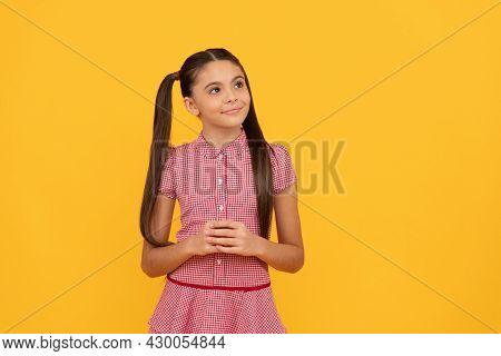 Dare To Dream. Dreamful Girl Yellow Background. Child Dreamer. Childhood Dream
