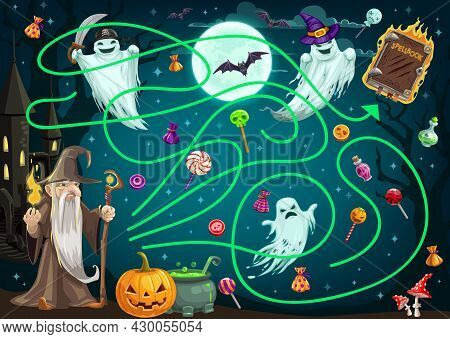 Children Search Path Game With Halloween Ghosts, Candy And Sorcerer Character. Child Find Way Activi