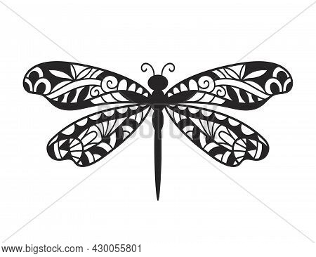 Beautiful Dragonfly Hand Drawn Ornamental Artistic Print, Tattoo Design