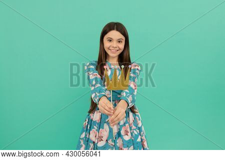The Crown Doesnt Change Me. Happy Kid Give Prop Crown Blue Background. Princess Party