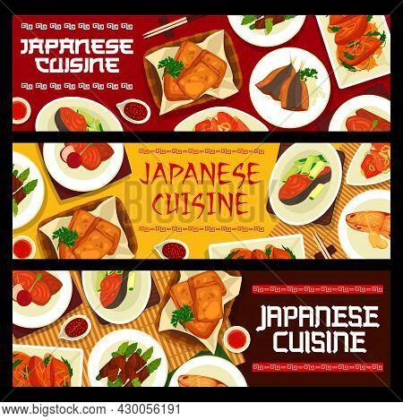 Japanese Cuisine Vector Teriyaki Salmon, Mackerel With Miso Sauce Saikyo Yaki, Marinated Salmon With