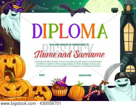 Halloween Kids Education Diploma Or Certificate Vector Template With Background Frame Of Horror Pump