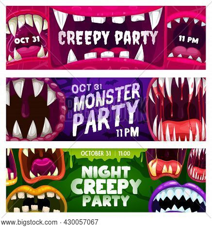 Creepy Party Night Vector Flyers With Monster Mouths. Halloween Horror Night Event Invitation Cards