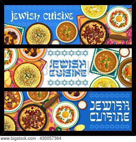 Jewish Cuisine Vector Stuffed Chicken Breast, Hummus, Chicken Noodle Soup And Shakshuka. Meatballs W