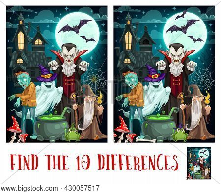 Child Spot Differences Game With Halloween Monsters. Kids Find Details Exercise, Children Playing Ac