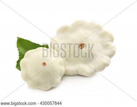 Fresh Ripe Pattypan Squashes With Leaf On White Background