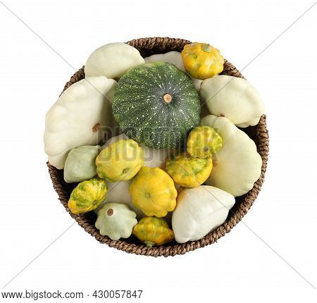 Fresh Ripe Pattypan Squashes In Wicker Bowl On White Background, Top View