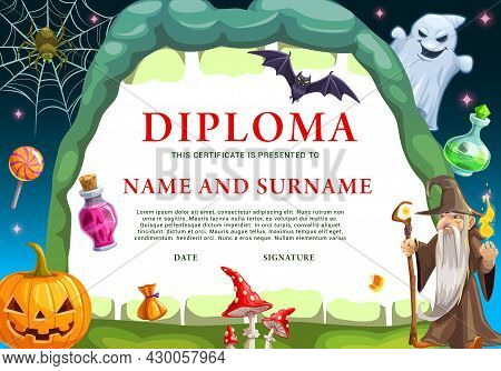 Child Halloween Diploma Template With Monsters. Wizard And Ghost, Pumpkin Lantern, Bat And Spider On